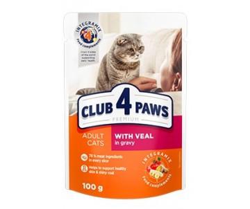 Клуб 4 Лапы Premium влажный корм для котов с телятиной в соусе