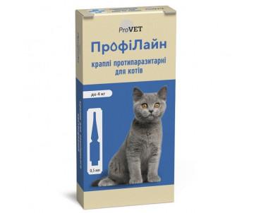 ProVET ПрофиЛайн капли от блох и клещей для кошек 1уп.(4 пипетки)