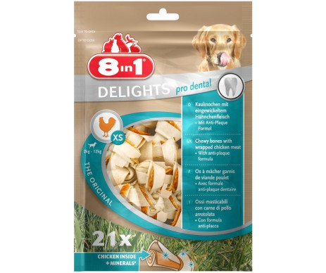 8in1 Delights Pro Dental Bone кость для чистки зубов с мясом XS