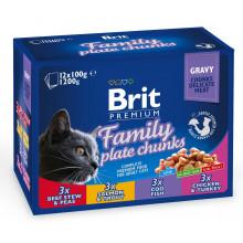 Brit Premium Cat Adult Family Plate Chunks Gravy pouch