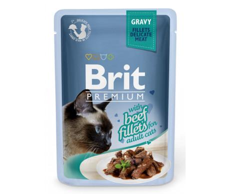 Brit Premium Cat Adult Beef Fillets Gravy pouch