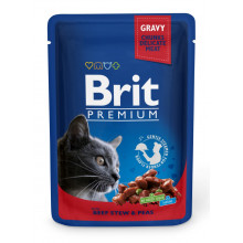 Brit Premium Cat Adult Beef Peas pouch