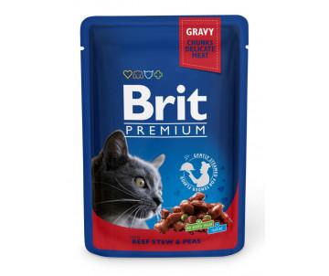 Brit Premium Cat Adult Beef Peas pouch