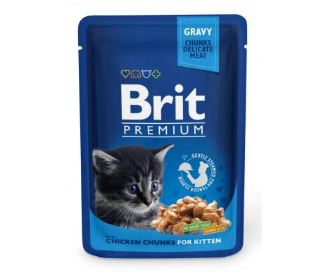 Brit Premium Cat pouch влажний корм для котят с курицей