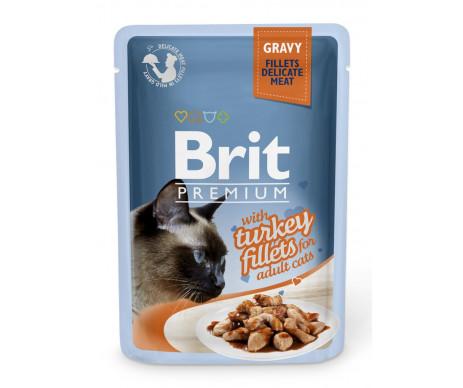Brit Premium Cat pouch влажный корм для котов филе индейки в соусе