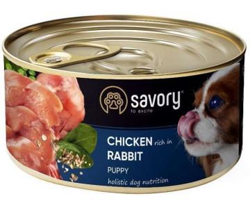 Savory Dog Puppy Chicken Rabbit Wet