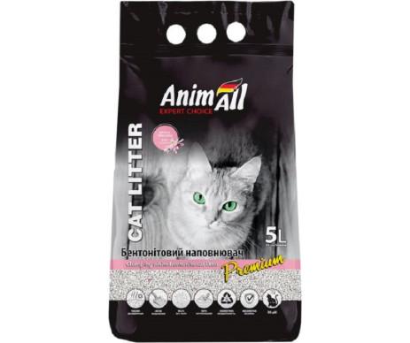 AnimAll Бентонитовый белый наполнитель для кошачьего туалета с ароматом детской пудры