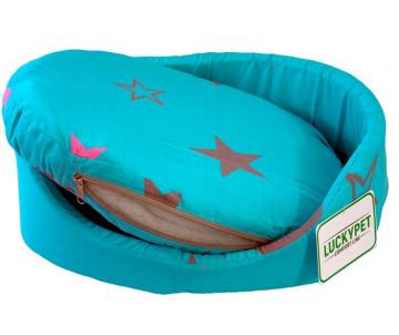 Lucky Pet Макс Лежак для кошек и собак, голубой со звездами