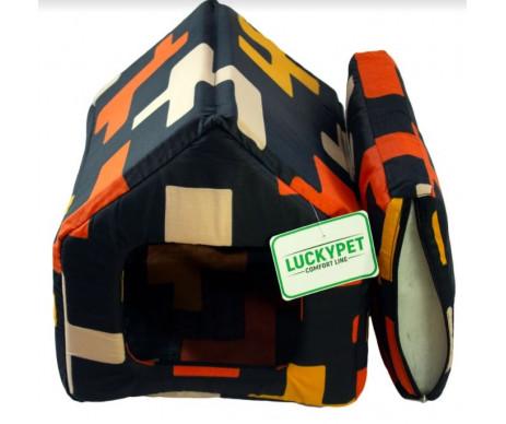 Lucky Pet Джесси Домик для кошек и собак, черный, цветная геометрия
