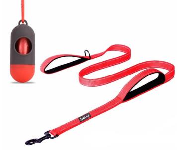 Bolux поводок для собаки с 2-мя мягкими ручками + контейнер для пакетов