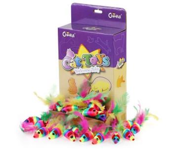 Chiwava Мышка с пером радуга игрушка для кошек
