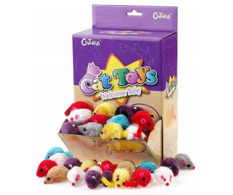 Chiwava Цветная плюшевая мышка игрушка для кота