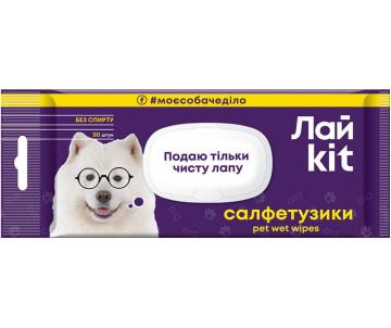 ЛайKit Салфетки влажные для ухода за животными, клапан + еврослот