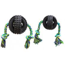 Pet Qwerks Игрушка для собак веселый звон мячик-колесо с веревкой
