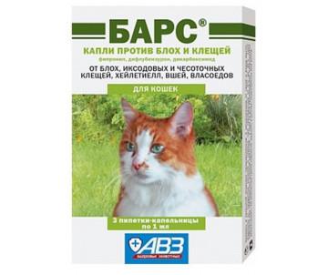 АВЗ «Барс» Капли против блох и клещей для котов