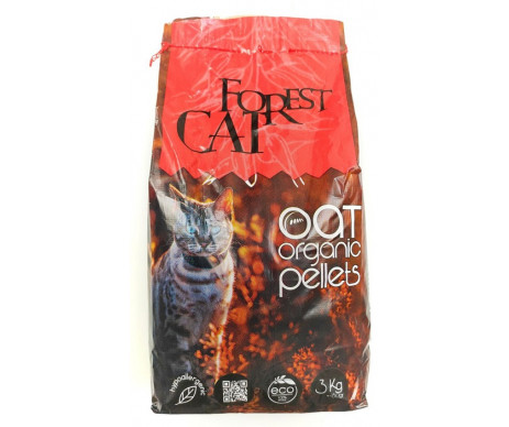 Forest Cat OAT Organic Pellets Гипоаллергенный древесный наполнитель для кошачьего туалета