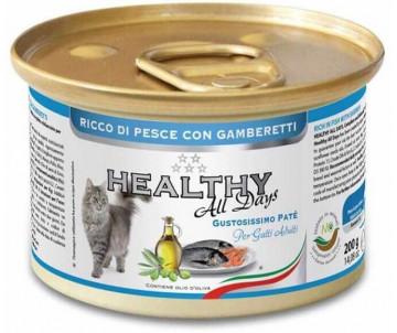 Healthy All days Cat Паштет с рыбой и креветками для котов
