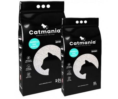 Catmania бентонитовый наполнитель для кошачьего туалета Марсельское мыло + бирюзовые гранулы