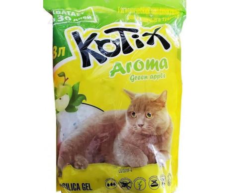 Kotix силикагелевый наполнитель для кошачьего туалета зелёное яблоко