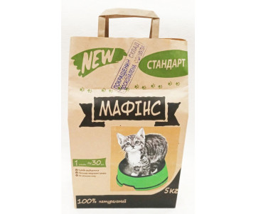 МАФИНС Комкующий наполнитель для кошачьего туалета с средними гранулами