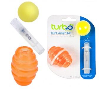 Coastal Turbo Scent Locker Football игрушка для котов, мяч овальный оранжевый, комплект, с кошачьей мятой