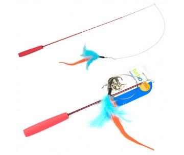 Coastal Turbo Tail Teaser удочка дразнилка для котов, оранжевый хвост, перья