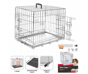 Flamingo Wire Cage клетка для собак, двухдверная, с ручкой и выдвижным поддоном