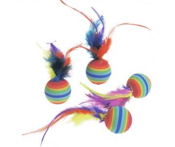 Flamingo RAINBOW BALLS яркая игрушка для кошек, мяч с перьями