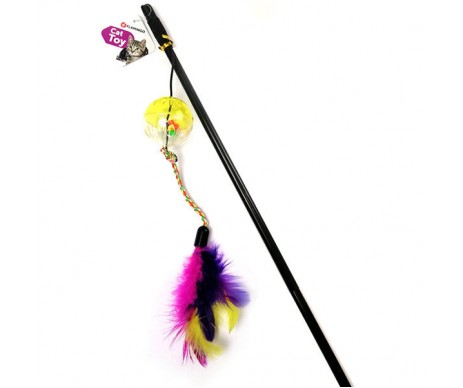 Flamingo Ball&Feathers игрушка дразнилка для кошек, удочка с мячом и перьями