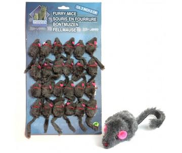 Flamingo Furry Mouse Grey игрушка для кошек, мышь серая, плюш, 5 см