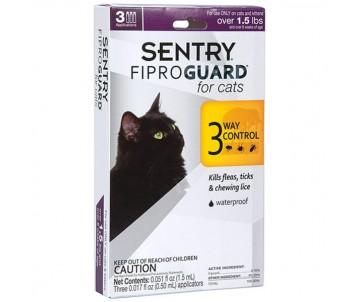Sentry FiproGuard for cats капли от блох, клещей, вшей для котов и котят, 1 пипетка