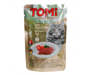 TOMi poultry in tomato jelly птица в томатном желе, консервы для кошек, пауч