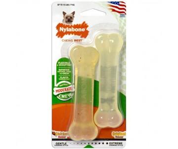 Nylabone Flexi Chew Twin Pack жевательная игрушка кость для собак с умеренным стилем грызения, два вкуса
